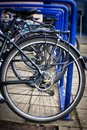 A close up of bicycle wheels on a sunny day in Scotland Royalty Free Stock Photo