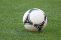 Close-up official UEFA EURO 2012 ball on the grass Stock Photography