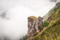 Close up ofmountain cliff and fog at intanon chiangmai thailand Stock Photography
