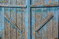 Close up of old barn door painted blue Royalty Free Stock Photo