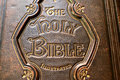 Close up of an old bible cover image in Stock Image
