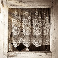 Close up of old house door window frame with broken glass Royalty Free Stock Photo