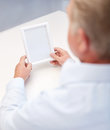 Close up of old man holding blank photo frame oldness memories loneliness and people concept Royalty Free Stock Photo