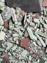 Close up of an old pile of bricks floor tile Royalty Free Stock Photo