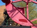 Close-up of an old rusty steel rolling lift bridge. Royalty Free Stock Photo