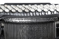 Close up of old typewriter black and white photo Royalty Free Stock Photo