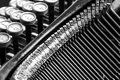 Close up of old typewriter black and white view an Stock Image