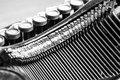 Close up of old typewriter black and white view an Stock Photo