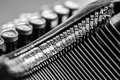 Close up of old typewriter black and white view an Royalty Free Stock Photography