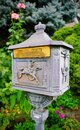 Pretty Old Brass Mail Box in Germany Royalty Free Stock Photo