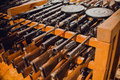 Close up on old vintage assault rifles Royalty Free Stock Photo