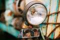 Close up of old vintage retro cars headlight Royalty Free Stock Photo