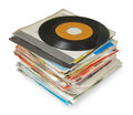 Close up of old vinyl records isolated on white Stock Photography
