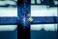 Close up of an old wood blue door sun shade antique Stock Photos