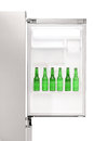 Close up of an open refrigerator full of beer bottles Stockfotos