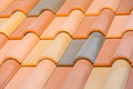 Close up of orange clay roof tiles with selective focus Royalty Free Stock Photography