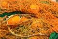 Close-up of orange fishing net. Royalty Free Stock Photo