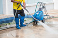Close up Outdoor floor cleaning with high pressure water jet Royalty Free Stock Photo