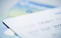 Close up part of debit card for background about finance and account your business Stock Image
