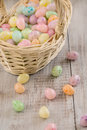 Close Up of pastel colored Easter egg cancy in wicker basket Stock Photos