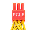 Close up pci e cable video card of computer on white background Stock Photos