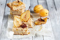 Close-up of pear pie with saffron and apricots Royalty Free Stock Photo