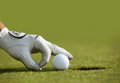 Close up of a person s hand putting a golf ball near a hole Stock Photography