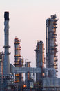 Close up of petrochemical oil refinery plant at twilight. Royalty Free Stock Photo