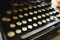 Close up photo of antique typewriter keys, shallow focus Royalty Free Stock Photo