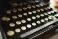 Close up photo of antique typewriter keys, shallow focus Royalty Free Stock Photo