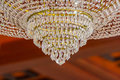 Close up photo of chandelier crystal in luxury decoration in a hotel Stock Images