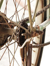 Close up photo of old dirty and rusty bicycle chains with sprocket at rear wheel stained Royalty Free Stock Photo