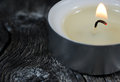 Close-up Photograph of a Lit Tea Light Candle on an Old Wooden B Royalty Free Stock Images