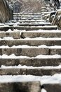 Close-up photograph of stone steps in the snow Royalty Free Stock Photo