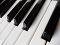 Close up of piano keys extreme black and white or keyboard Stock Photo