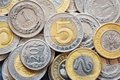 Close up picture of Polish Zloty coins. Royalty Free Stock Photo