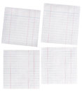 Close up piece of lined paper isolated on white Royalty Free Stock Photo