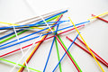 Close-up on pile of pick up sticks fun game overlapping Royalty Free Stock Photo