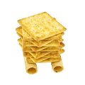 Close up Pile of Tong Muan rolled wafer and cracker Thailand isolated Royalty Free Stock Photo