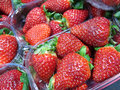 Close up plastic baskets large strawberries market stall Stock Photos
