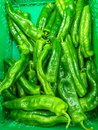 plastic green box at the market plenty of heap green peppers just harvested ready to be sold to customers Royalty Free Stock Photo