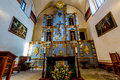 Close Up of The Podium Area Inside The Larger Chapel of the Old West Spanish Mission San Jose Royalty Free Stock Photo