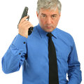 Close-up Portrait of adult man with the gun Stock Image