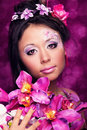 Close-up portrait of asian girl with flowers Royalty Free Stock Photography