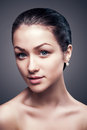 Close-up portrait of attractive young beautiful model woman clean skin Royalty Free Stock Photo