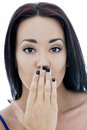 Close Up Portrait of an Attractive Young Woman With Her Hand Aga Royalty Free Stock Photo