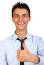 Close up portrait of a beautiful smile young happy business man going thumbs isolated on white Stock Photography