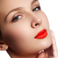 Close-up portrait of beautiful woman's purity face with bright r Royalty Free Stock Photo