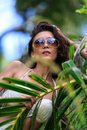 Close up portrait beautiful woman in tropical nature Royalty Free Stock Photos
