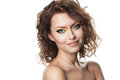 Close up portrait of a beautiful woman young girl with curly hair and modern bright makeup Royalty Free Stock Photo